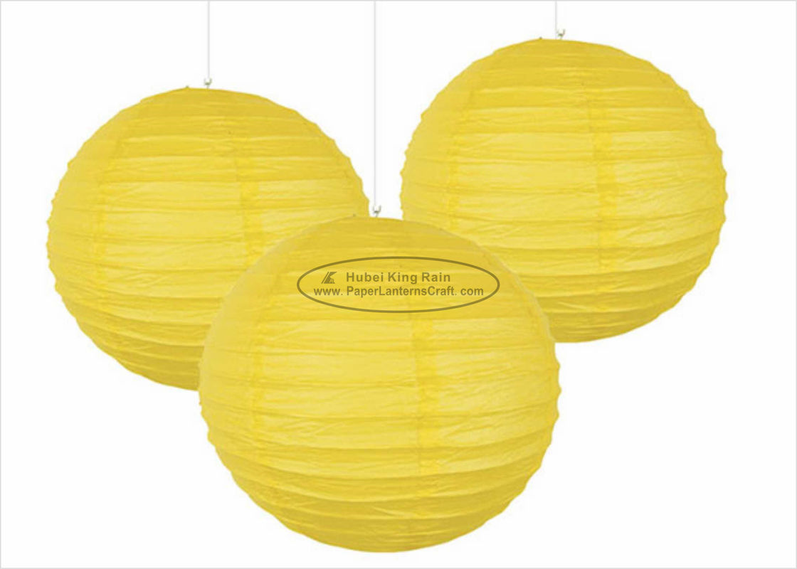 Yellow Round Paper Lanterns , 8 Inch Paper Lanterns For Birthday Party