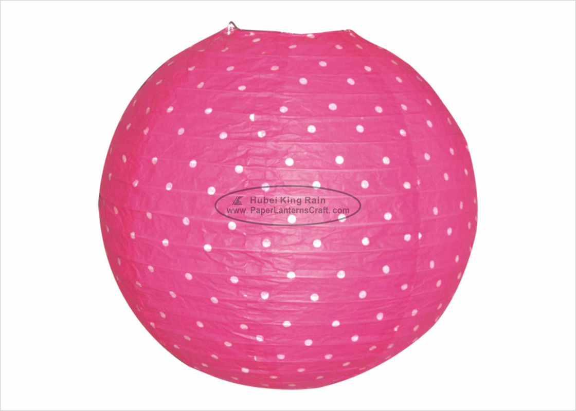 Polka Dots Round Paper Lanterns , Indoor Party Pink And White Paper Lanterns