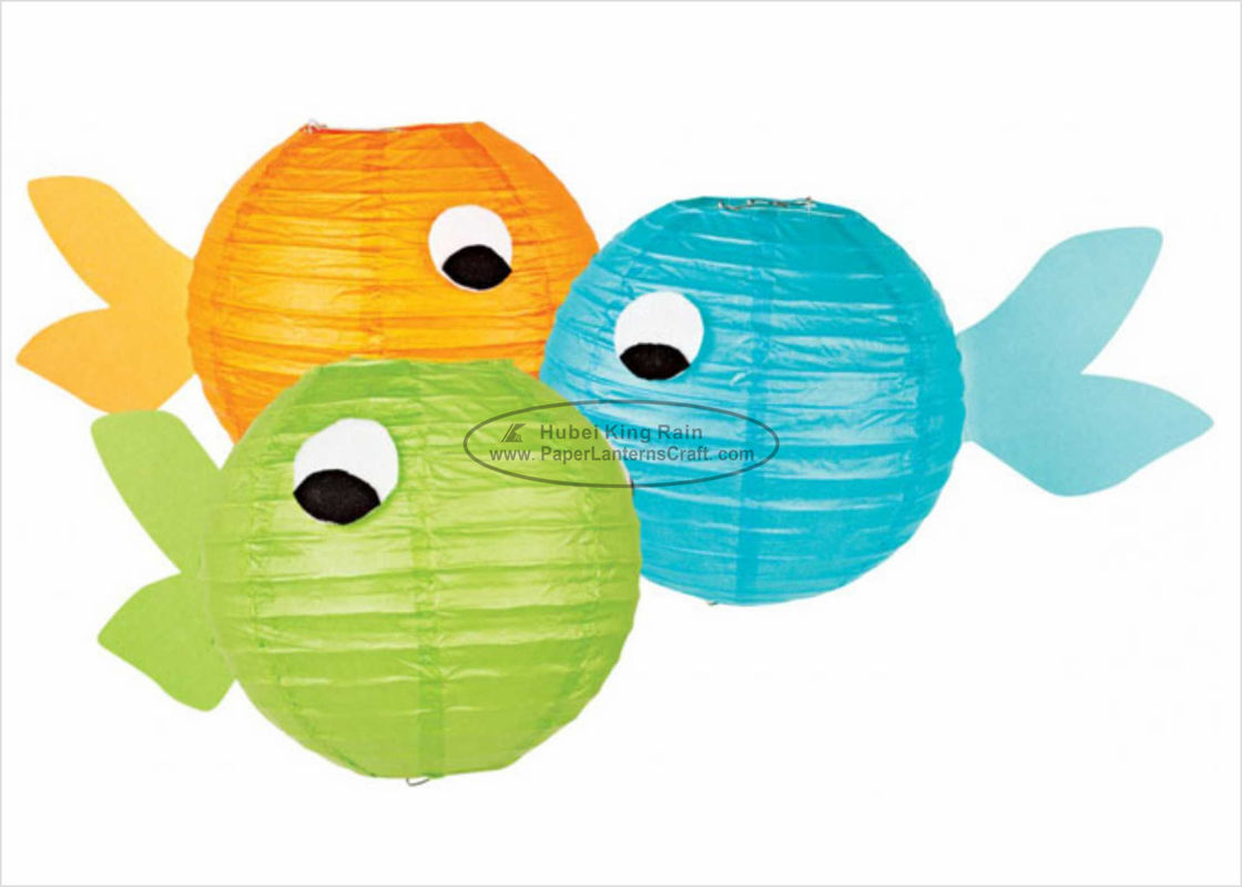 Orange Yellow Fish Shaped Paper Lanterns Craft 10 Inch 12 Inch For Birthday Gift