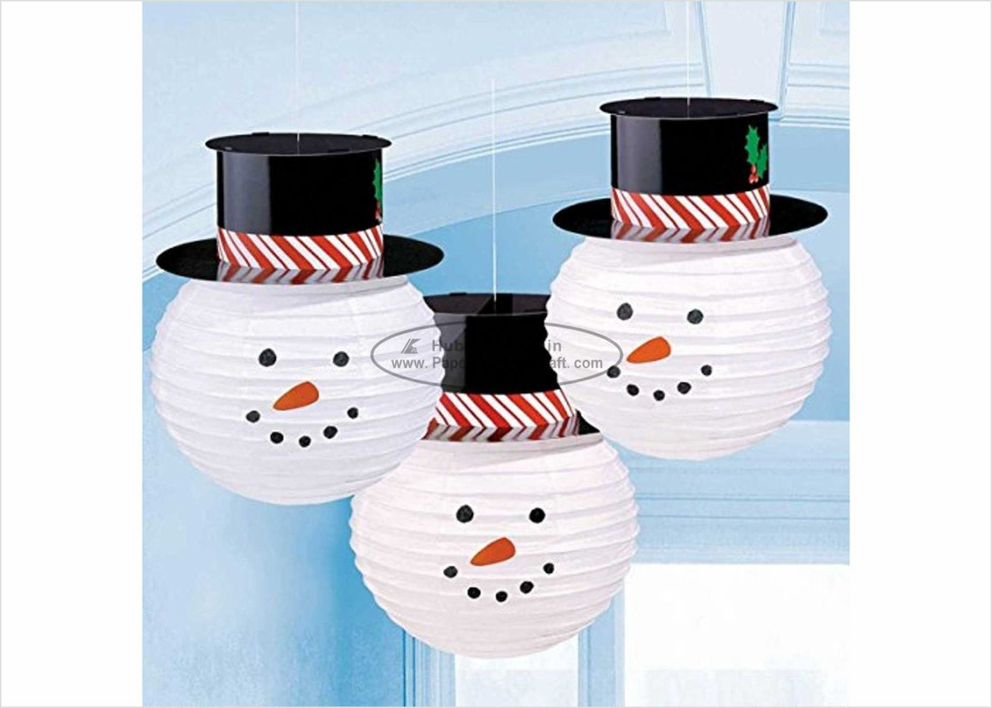 "Commercial Handmade Paper Christmas Ornaments 8"" 10"" 12"" , Snowman With Hat Shaped"