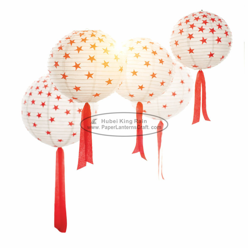 "8"" 10"" 12"" Red Round Paper Lanterns Lights With Tassel , Star Pattern"