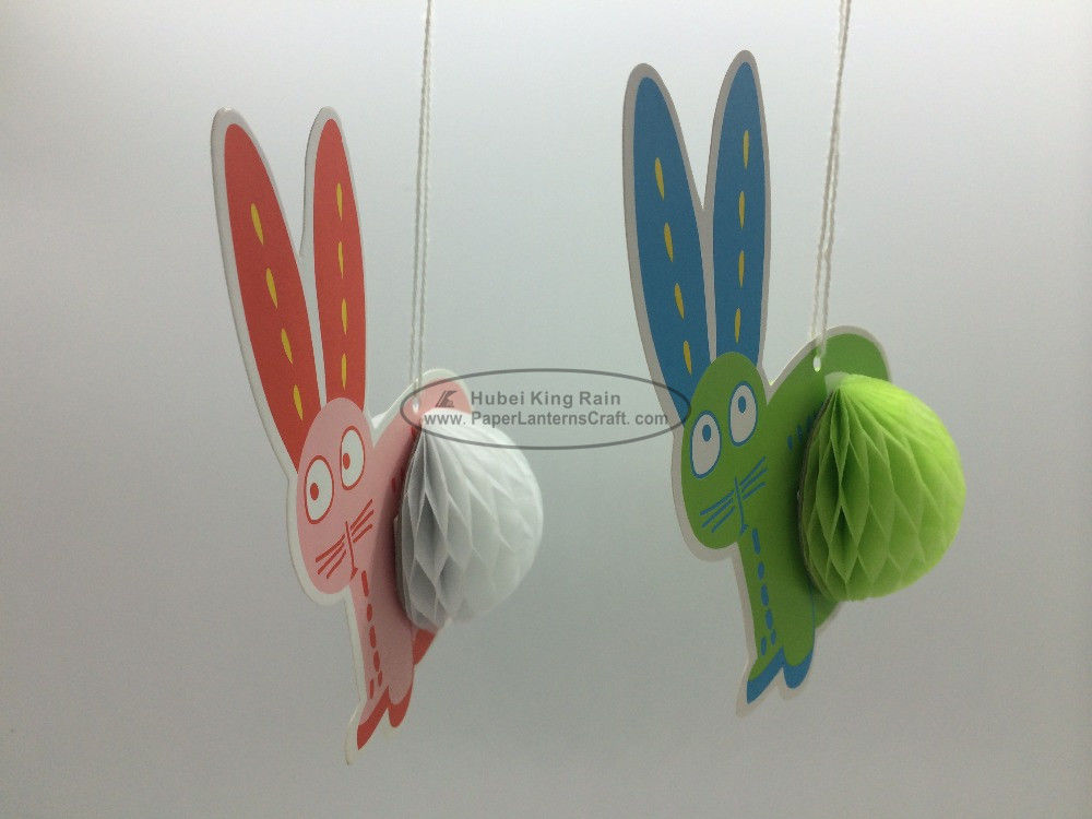 Rabbit honeycomb Ornaments Paper Easter Decorations Hanging promption Anniversary