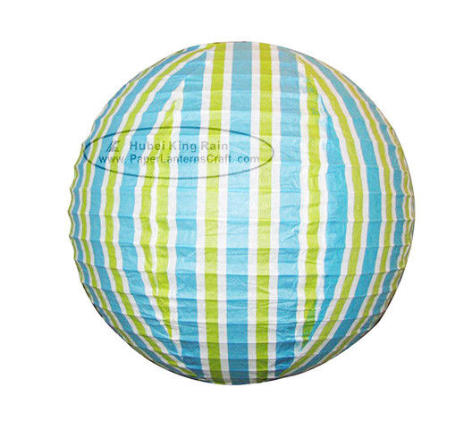Colorful Stripe Colorful Round Paper Lanterns With Metal Wire Material