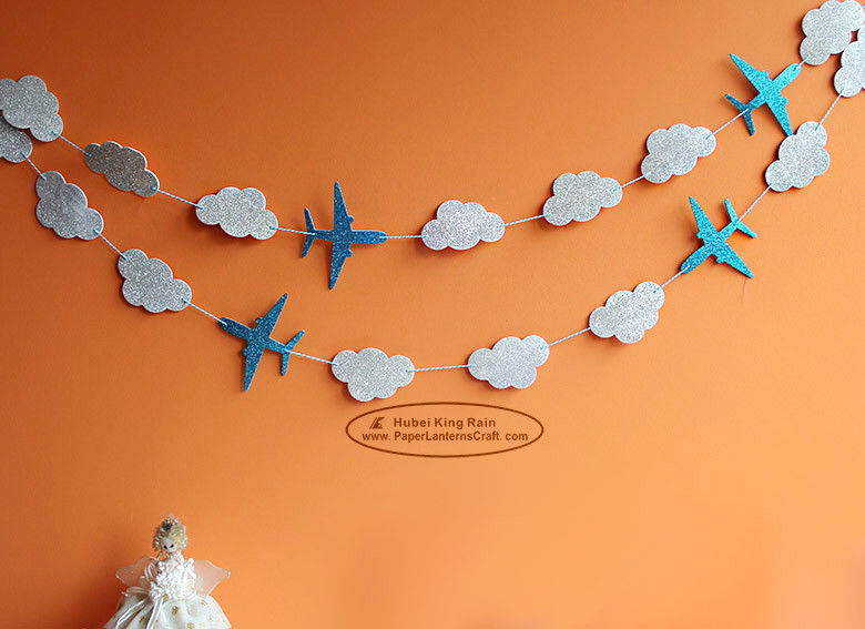 White Cloud Airplane Paper Garland Craft Tassel Garland Solid Color And Mixed Color
